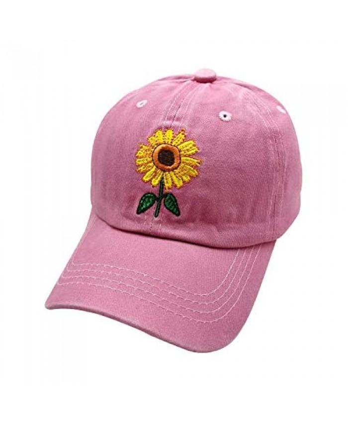 Waldeal Girls' Embroidered Sunflower Hat Adjustable Kids Vintage Washed Baseball Cap