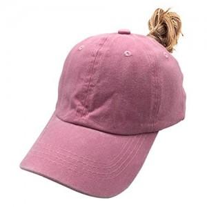 Waldeal Girls' Ponytail Hat Cute Vintage Distressed Adjustable Kids Plain Baseball Dad Cap