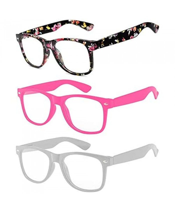 3 Pairs Kids Clear Lens Glasses Protect Child's Eyes from UVB UVA Blocking