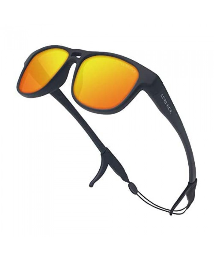 ACBLUCE Kids Sunglasses TPEE Unbreakable Frame Polarized Sports Glasses with Adjustable Strap For Boys Girls Age 6-12