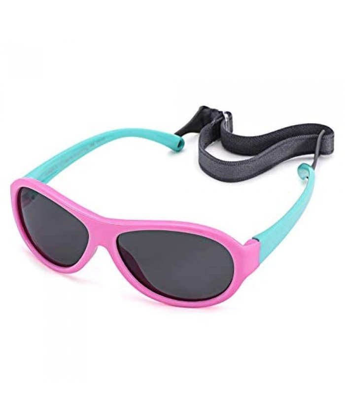 Baby Polarized Sunglasses Flexible Frame with Strap Adjustable for Toddler & Newborn Infant 0-24 Months