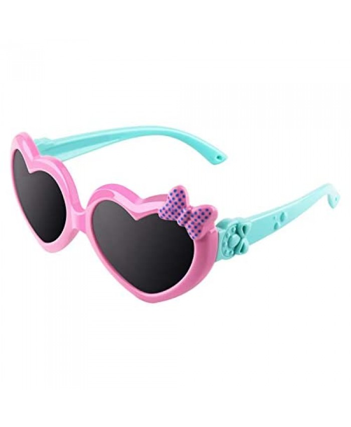 CGID Soft Rubber Kids Cute Heart Polarized Sunglasses UV400 for Children Age 3-10 K78