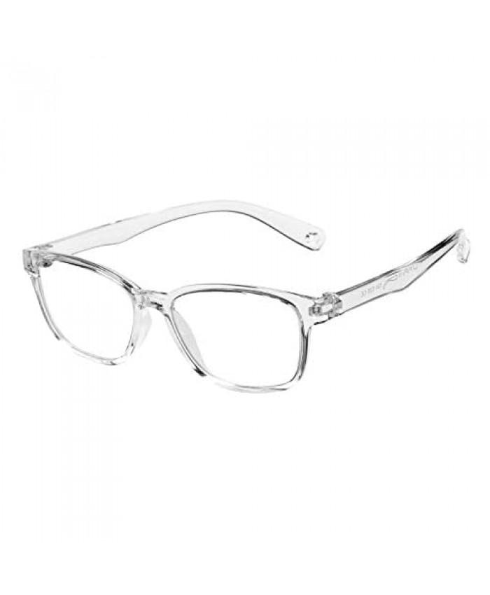 DeBuff Kids Blue Light Blocking Glasses Square Nerd Soft Eyeglasses Frame UV400 Protection