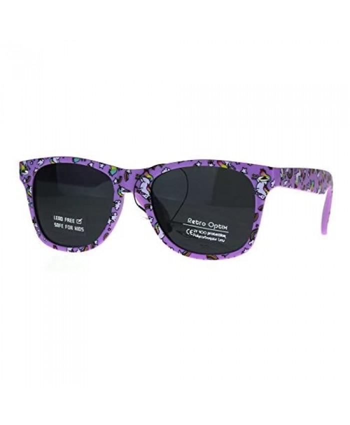 Kids Child Size Girls Unicorn Print Plastic Horn Rim Sunglasses