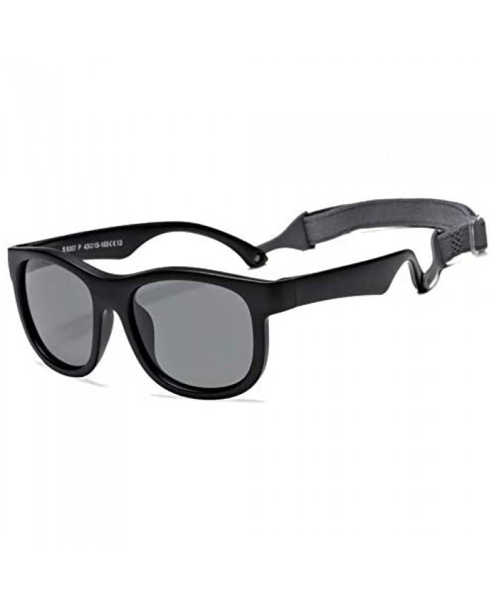 Kids Polarized Sunglasses with Strap Toddler Newborn Infant Flexible Frame Sun Glasses for Girls Boys Age 0-3