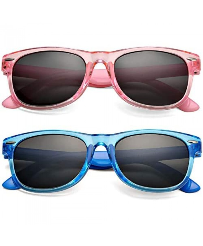 Kids' TPEE Rubber Flexible Polarized Sunglasses for Boys Girls Age 2-9 Unbreakable Frame and 100% UV Blocking Lens