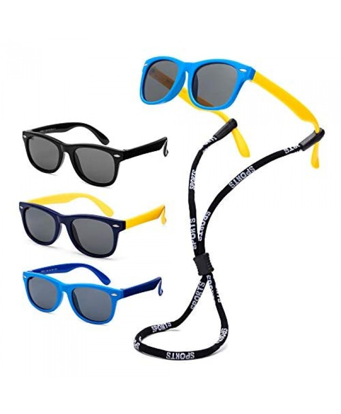 SLTY Rubber Kids Polarized Sunglasses with Strap Shades for Girls Boys Baby Children Age 3-10