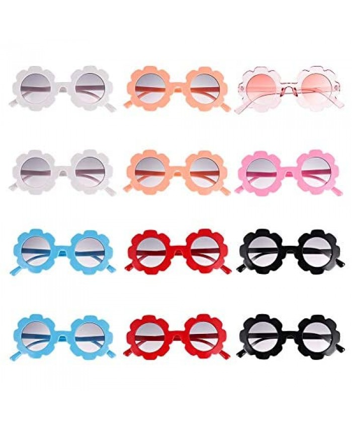 Spiralization Direct 12 Pieces Flower Sunglasses for Kids Round Cute Glasses for Boys Girls Party Favors