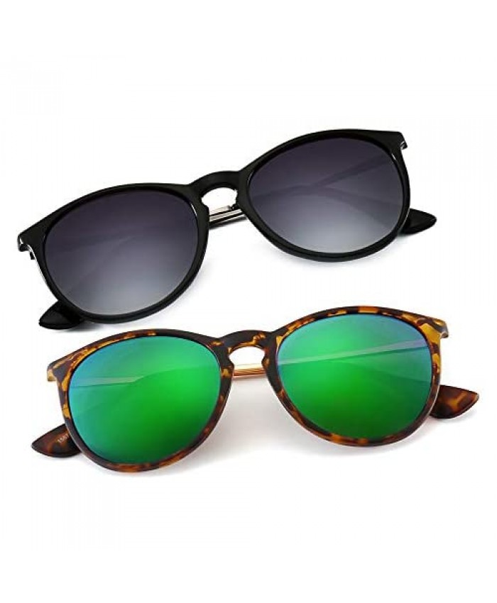 SUNGAIT Vintage Round Sunglasses for Women Men Classic Retro Designer Style(Polarized (Green Lens & Grey Gradient Lens)2 Pack)