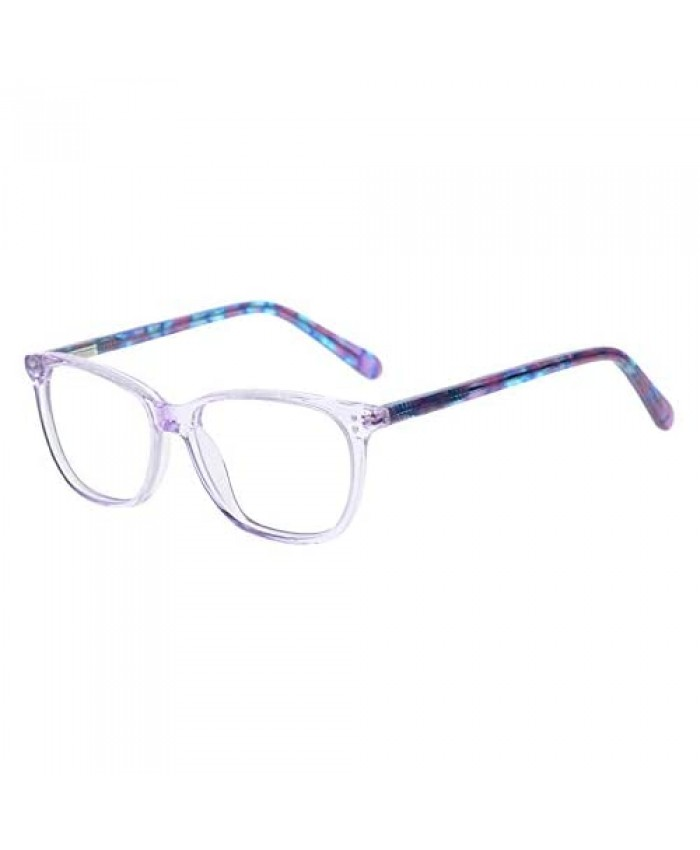 Teens Children Kids Glasses with Square Clear Lens for Boys Girls Gray Pink Purple Green (Age 5-11)
