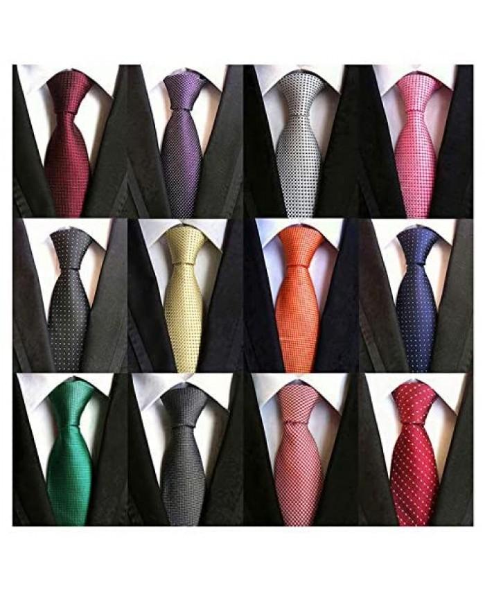 Adulove Men's Necktie Classic Silk Tie Woven Jacquard Neck Ties 12 PCS