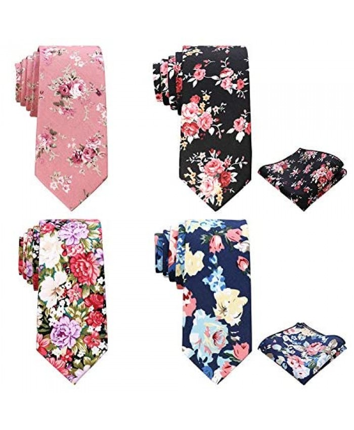 AUSKY Printed Floral Necktie for Men Cotton Skinny Neck Tie Thin Ties (4 Packs & 1 Pack for Option)
