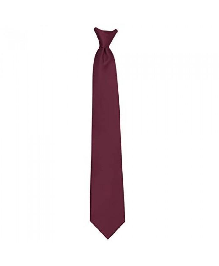 Jacob Alexander Men's Pre-Tied Solid Color Clip-On Neck Tie