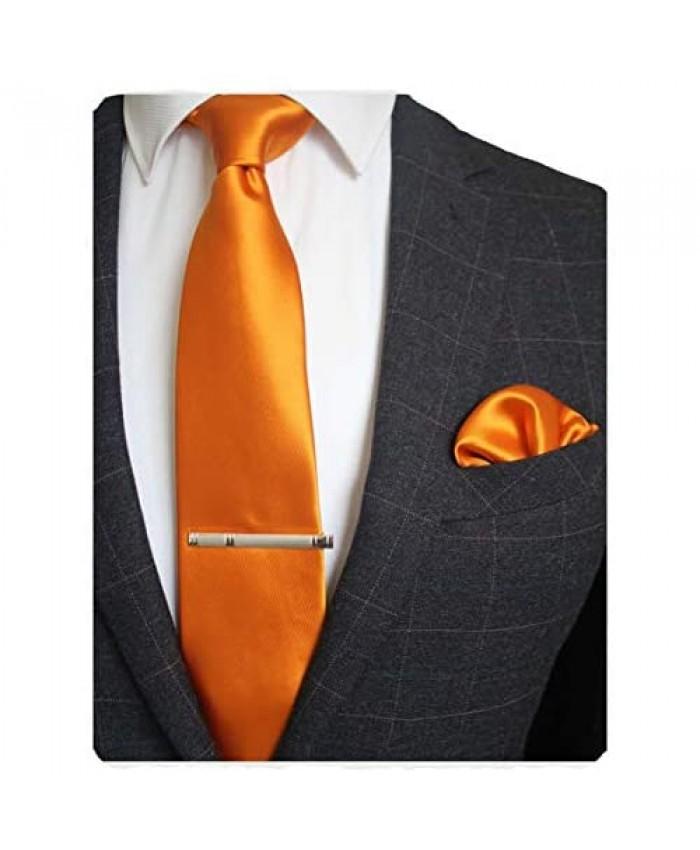 JEMYGINS Mens Solid Color Formal Necktie and Pocket Square Tie Clip Sets