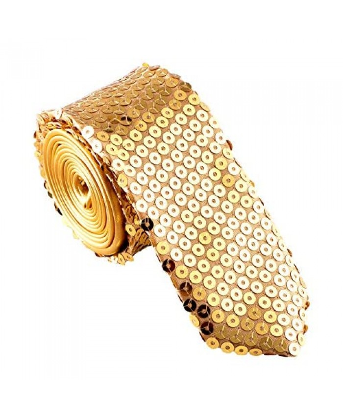 Mens Fashion Sequin Skinny Tie - Great for Weddings Parties Costumes Halloween - Many Colors to Choose From