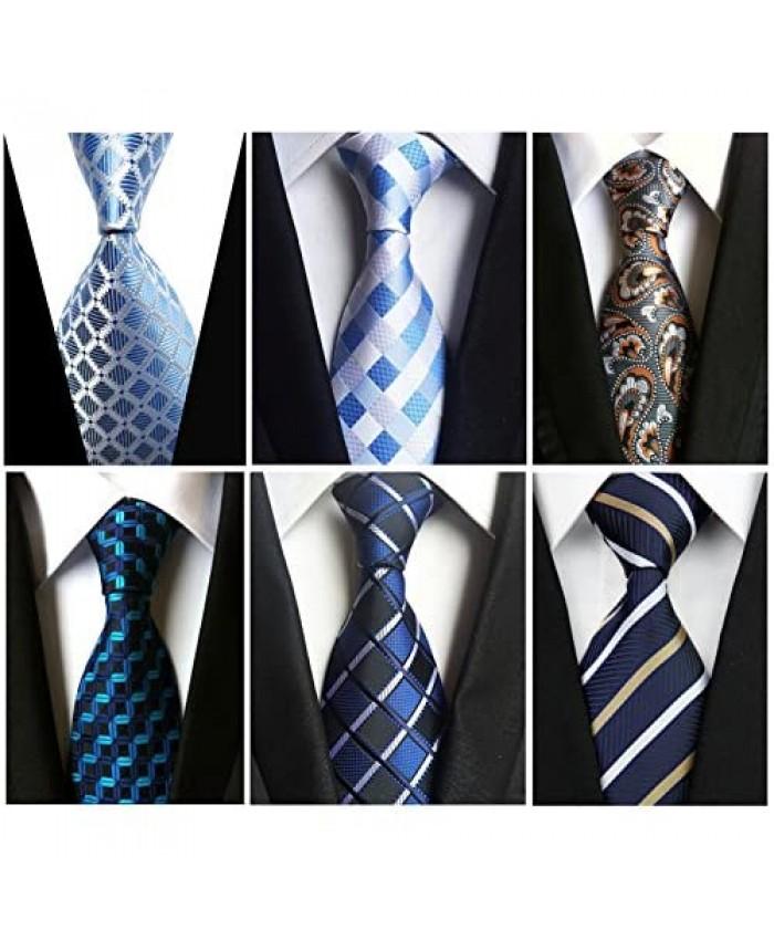 Wehug Lot 6 PCS Men's Ties Silk Tie Woven Necktie Jacquard Neck Ties Classic Ties For Men style022
