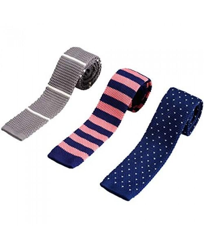 ZENXUS Knit Ties for Men Wrinkle Proof Machine Washable 2.35 inch Skinny Ties Flat-end Sock Ties 3-Pack